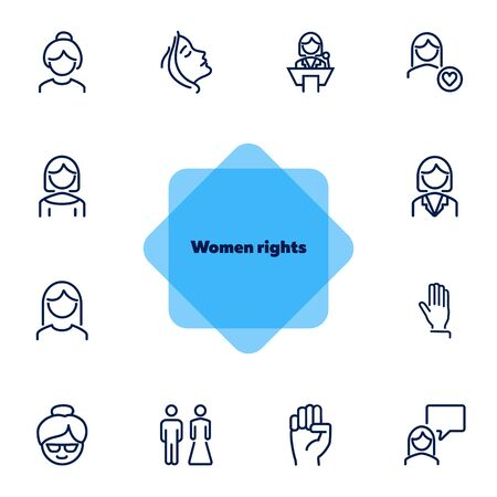 Women rights line icon set. Girl, woman, pair. Sociality concept. Vector illustration can be used for topics like human rights, social, girl power