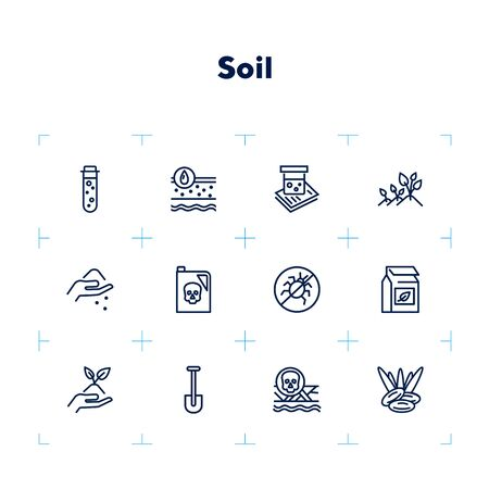 Illustration for Soil icon set. Line icons collection on white background. Gardening, fertilizer, pesticide. Agriculture concept. Can be used for topics like farming, agronomy, cultivation - Royalty Free Image