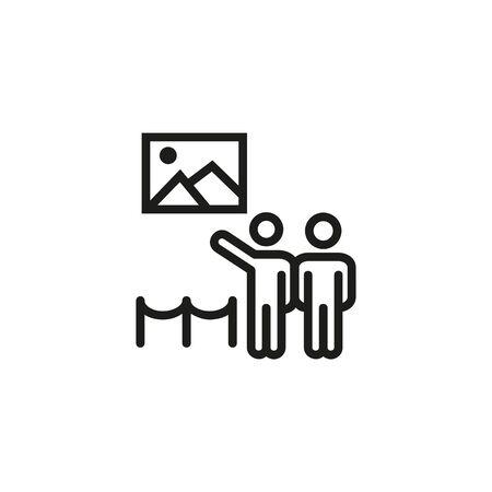 Illustration pour Art gallery line icon. Visitors, pictures, exhibition. Museum concept. Vector illustration can be used for topics like art, culture, tourism - image libre de droit