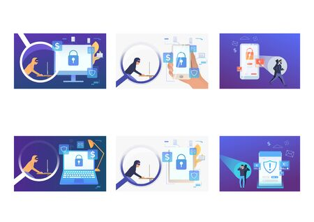 Illustration pour Set of cyber burglars hacking into devices. Flat vector illustrations of hackers breaking private info. Hacker attack concept for banner, website design or landing web page - image libre de droit