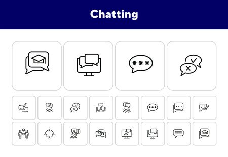 Illustration pour Chatting line icon set. Speech bubble, deal, messenger. Communication concept. Can be used for topics like forum, business, social media - image libre de droit