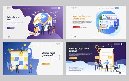 Illustration for Set of managers analyzing financial strategy. Flat vector illustrations of business people drawing up report. Development, analytics concept for banner, website design or landing web page - Royalty Free Image