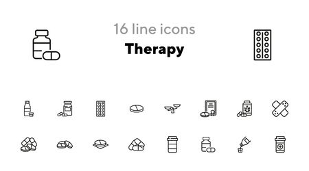 Ilustración de Therapy line icon set. Prescription, medical bottle, pills, syrup. Health care concept. Can be used for topics like cure, illness, treatment - Imagen libre de derechos