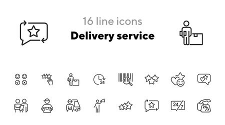 Illustration pour Delivery service icon. Set of line icons on white background. Courier, rating, bar code. Online shopping concept. Vector illustration can be used for topics like shopping, service, business, internet - image libre de droit