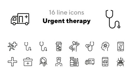 Ilustración de Urgent therapy line icon set. Ambulance car, stethoscope, pain. Medicine concept. Can be used for topics like emergency, first aid, medical help - Imagen libre de derechos