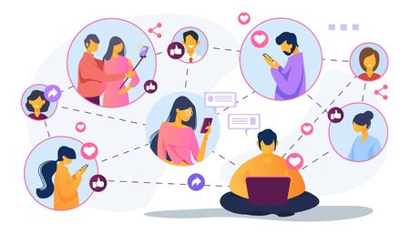 Illustration for Social media network. Connected users taking pictures, posting, chatting flat vector illustration. Internet, connection, communication concept for banner, website design or landing web page - Royalty Free Image