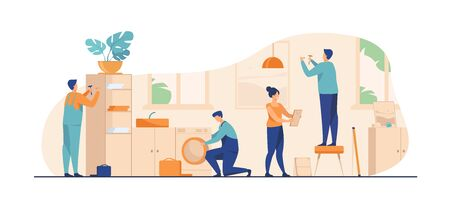 Illustration for Handyman working at customer home. Repair man fixing washing machine, hammering nails. Vector illustration for housekeeping, household, service concept - Royalty Free Image