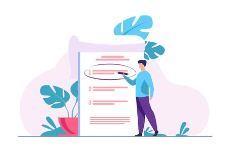 Manager prioritizing tasks in to do list. Man taking notes, planning his work, underlining important points. Vector illustration for agenda, checklist, management, efficiency concept