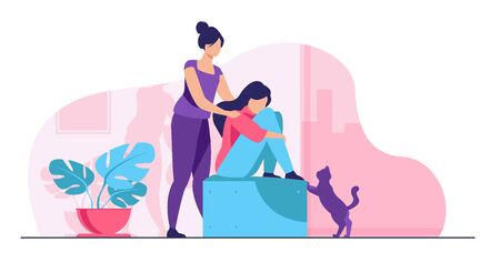 Illustration for Woman giving comfort and support to friend, keeping palms on her shoulder. Girl feeling stress, loneliness, anxiety. Vector illustration for counseling, empathy, psychotherapy, friendship concept - Royalty Free Image