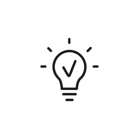 Photo for Line icon of light bulb. Idea, innovation, solution. Light concept. Can be used for topics like business, energy, economy - Royalty Free Image