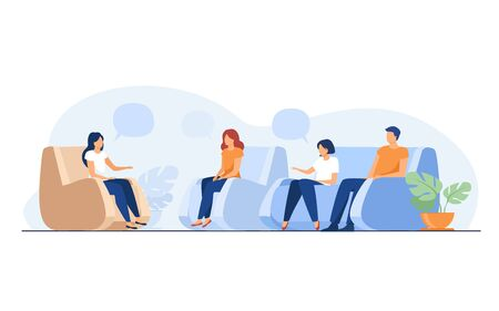 Illustration pour Group therapy and support concept. People meeting together to discuss addiction problem with psychologist. Flat vector illustration for counselling and help topics - image libre de droit