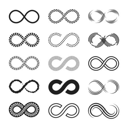 Ilustración de Infinity signs set. Endless eternity symbols, black eight geometric shapes isolated on white background. Can be used for logo or emblem design, Moebius loop concept - Imagen libre de derechos