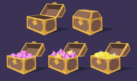 Illustration pour Closed and open colorful treasure chests flat icon set. Cartoon bright pirate chests with gems and coins isolated vector illustration collection. Game trophy and UI elements concept - image libre de droit