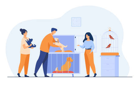 Illustration pour Pet store or animal shelter concept. Man taking puppy from cage, buying or adopting dog. Volunteers helping to choose homeless animal for adoption - image libre de droit