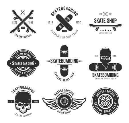 Ilustración de Vintage skateboarding tattoo flat emblems set. Black monochrome labels or signs with skateboard and skull vector illustration collection. Summer, extreme sport and lifestyle concept - Imagen libre de derechos
