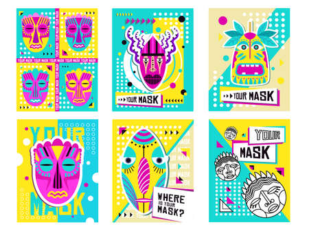Illustration pour Tribal masks greeting cards design set. Traditional decoration, souvenir in boho style vector illustration with text samples. Template for tropical party invitation cards or flyers - image libre de droit