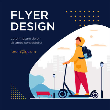 Illustration pour Young man riding electric scooter isolated flat vector illustration. Cartoon hipster riding along sidewalk in city park. Urban transportation and lifestyle concept - image libre de droit