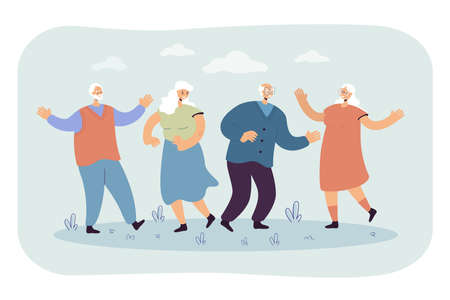 Illustration pour Happy senior people enjoying outdoor party. Group of mature friends celebrating event, having fun together. Vector illustration for retired age, hobby, joy, retirement, leisure concept - image libre de droit