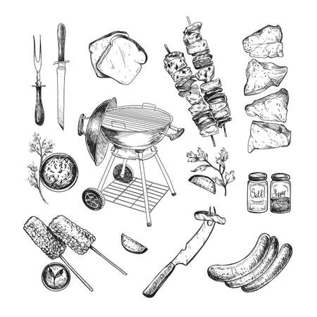 Illustration pour Food and grill for barbeque engraved illustrations set. Hand drawn sketch of grill, meat, beef, sauce, vegetables isolated on white background. Barbeque party, cafe, restaurant, grilled food concept - image libre de droit