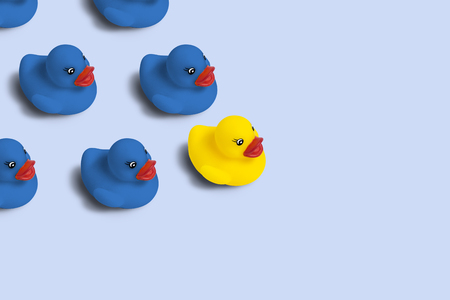 Photo pour Group of blue toy ducks and one yellow duck in the head of the group on a blue background. Concept of creative business solutions, team leadership, stands out from the crowd, uniqueness - image libre de droit