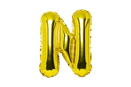 Golden air balloon, letter N on a white isolated background. Concept holiday, birthday, anniversary.