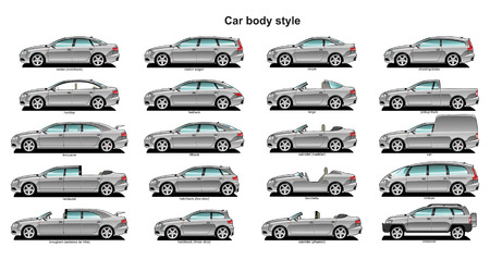 A Vector . 8 illustration of car body style.