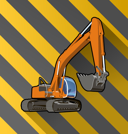 Vector color illustration of an excavator on black and yellow stripped background.