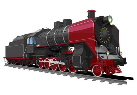 illustration of a old steam locomotive isolated on white background. Solid fill only, no gradients.