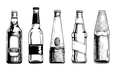 Illustration pour Vector set of beer bottles in ink hand drawn style. isolated on white. - image libre de droit