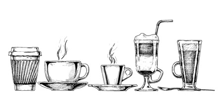 Vector set of coffee cups in ink hand drawn style. isolated on white.