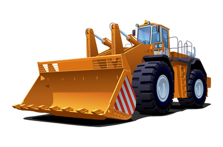 vector illustration of a bulldozer. Simple gradients only - no gradient mesh.