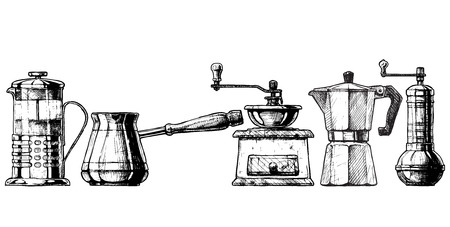 Illustration pour Vector set of coffee making equipment. French press, Cezve,  old fashioned manual burr mill coffee grinder, moka pot, turkish manual coffee and pepper grinders. - image libre de droit