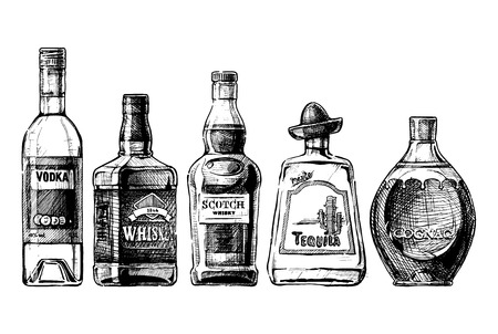 Illustration pour Vector set of bottles of alcohol in ink hand drawn style. isolated on white. Distilled beverage - image libre de droit