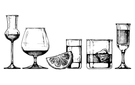 Illustration for Vector set of glasses goblets in ink hand drawn style. isolated on white. - Royalty Free Image
