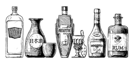 Illustration pour Vector set of bottles of alcohol in ink hand drawn style. isolated on white. Distilled beverage. Gin, sake, absinthe, brandy, rum. - image libre de droit