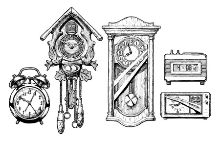 Illustration pour Vector hand drawn sketch of old clocks set in ink hand drawn style. Alarm clock, Cuckoo clock, pendulum clock, digital alarm clock and radio clock. - image libre de droit
