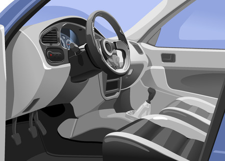 Illustration pour Vector illustration of a sport  car interior. View from the opened door. Simple gradients only - no gradient mesh. - image libre de droit