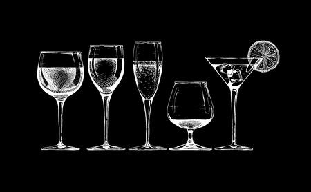 Illustration pour set of glasses goblets on black background. - image libre de droit