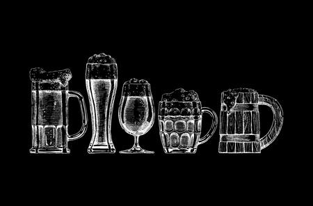 Illustration pour set of beer glasses and mugs on black background. - image libre de droit