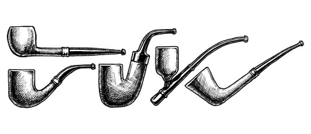 ink Tobacco Pipes. illustration. vintage pipe. Engraving style. Pipe shapes:  bent billiard, hungarian (Oom Paul), cavalier, dublin.
