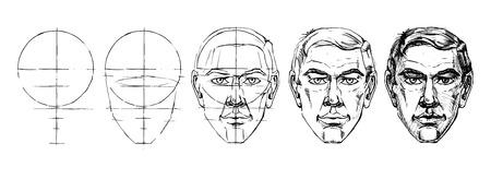 Illustration pour Step by step drawing tutorial of male portrait. Vector illustration. - image libre de droit