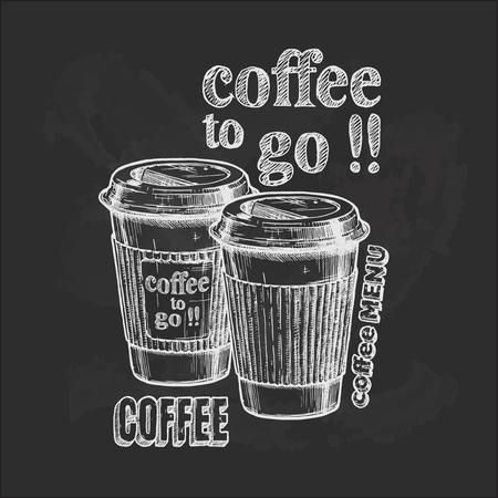 Ilustración de Vector vintage hand drawn illustration of coffee to go in paper cups on blackboard. - Imagen libre de derechos