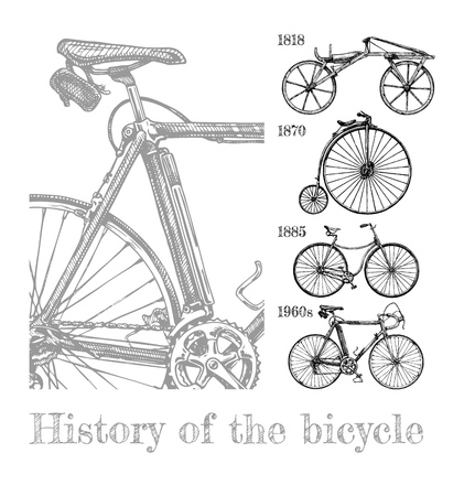 Illustration pour Vector hand drawn illustration of bicycle evolution set in ink hand drawn style. Types of cycles: draisine, penny-farthing, safety bicycle and modern racing bike. - image libre de droit