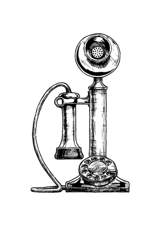 Illustration pour Vector hand drawn illustration of retro candlestick telephone in vintage engraved style. isolated on white background. - image libre de droit