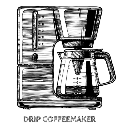 Drip coffeemaker. Vector hand drawn illustration of coffee machine in vintage engraved style. isolated on white.