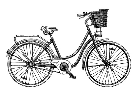 Illustration for Vector hand drawn illustration of city bicycle in ink hand drawn style. Bike with step-through frame, pannier rack and front wicker basket. - Royalty Free Image