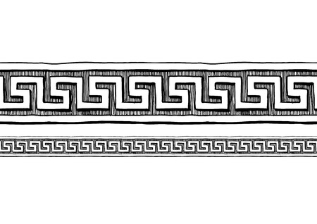 Ilustración de Meander, old greek border ornament in ink hand drawn style. Horizontal seamless pattern border.  - Imagen libre de derechos