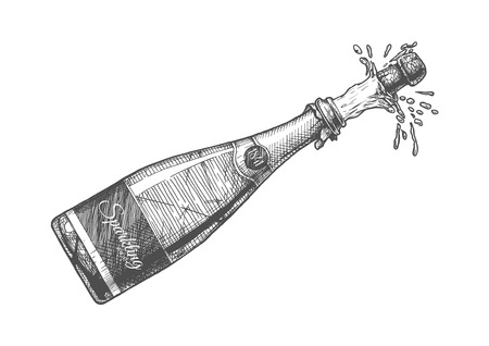 Illustration pour Hand drawn Illustration of  Champagne explosion. Sparkling wine Isolated on white background in vintage engraved style. - image libre de droit