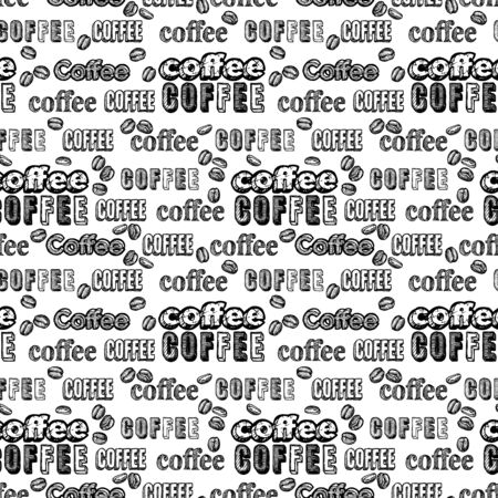 Illustration for Seamless doodle coffee pattern with text on white background. - Royalty Free Image