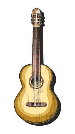 Illustration pour Vector hand drawn illustration of acoustic guitar. classical guitar.  - image libre de droit